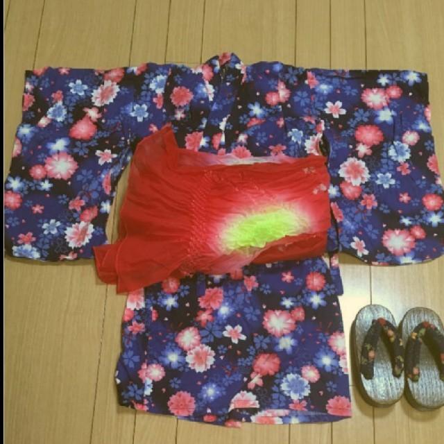 ampersand(アンパサンド)のAmpersand 浴衣 帯付き  キッズ/ベビー/マタニティのキッズ服 女の子用(90cm~)(甚平/浴衣)の商品写真