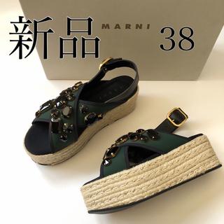 マルニ(Marni)の新品/38 MARNI マルニ プラットホーム ビジュー サンダル(サンダル)