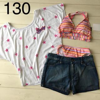 04a38fb5423 ラスティ(RUSTY)のRUSTY 4点セット 水着 ビキニ 130cm Tシャツ デニムパンツ
