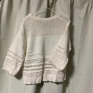 ジーユー(GU)の【美品】GU  白 ニット 五分袖(ニット/セーター)