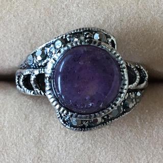 (10)アメジストカラーのリング シルバー アンティーク(リング(指輪))