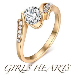 送料無料18号イエローゴールドスーパーCZダイヤデザイナーズジュエリーリング指輪(リング(指輪))