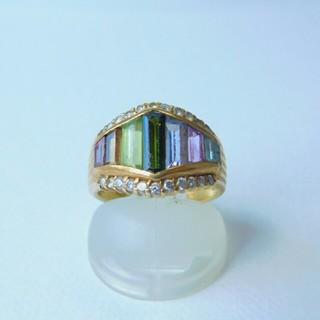 K18 マルチカラー天然石 リング(リング(指輪))