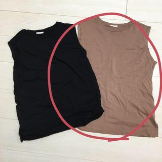 ジーユー(GU)のGU カラースリーブレスT ブラウン 美品(Tシャツ(半袖/袖なし))