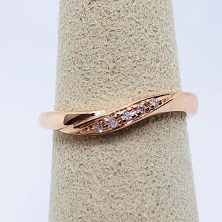 ヨンドシー(4℃)の美品 4℃  K10PG ダイヤモンド リング  サイズ6(リング(指輪))
