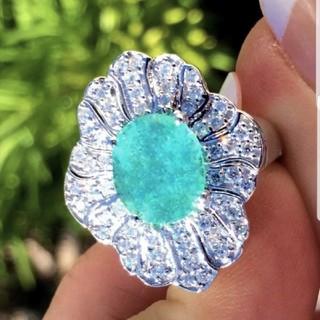 GIA♡ブラジル産パライバトルマリンダイヤモンドリング(リング(指輪))