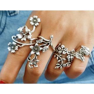 セール中 1002フラワーリング 指輪4個セット バラ 花 バラ ヴィンテージ感(リング(指輪))