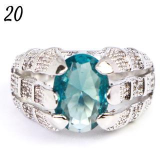 G2 リング 20号 ゴシック 人工石 アクア 大きいサイズ(リング(指輪))