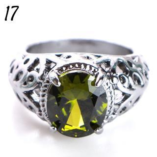 G3 リング 17号 人工石 ペリドット ブラックゴールド クール(リング(指輪))
