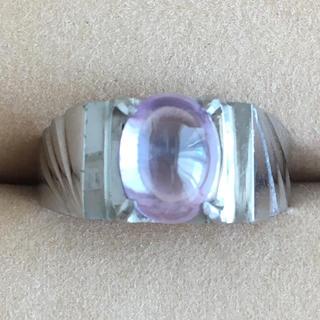 (26)アメジストカラーのストーンリング シルバー アンティーク(リング(指輪))