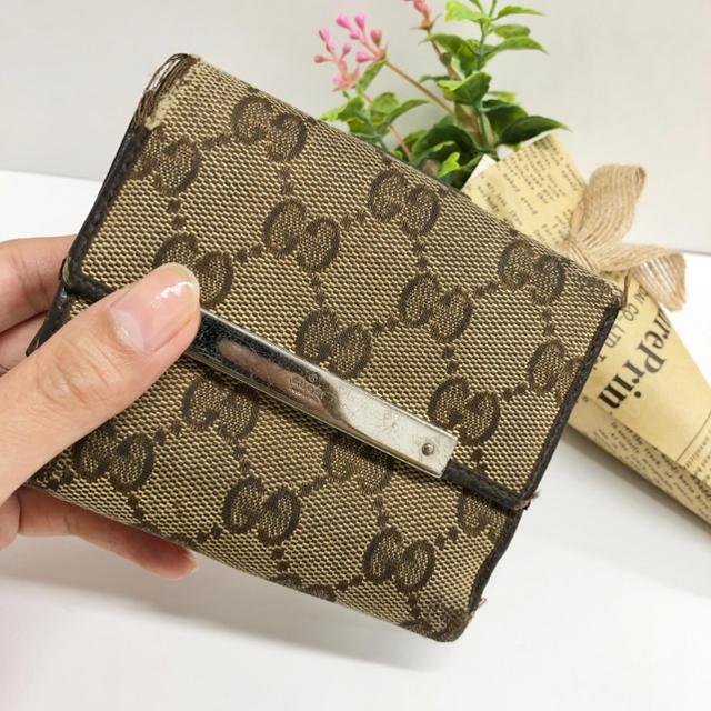Gucci - ⭐️訳ありSALE!⭐️ GUCCI グッチ GGキャンバス 二つ折り 財布 の通販 by PNKR shop  |グッチならラクマ