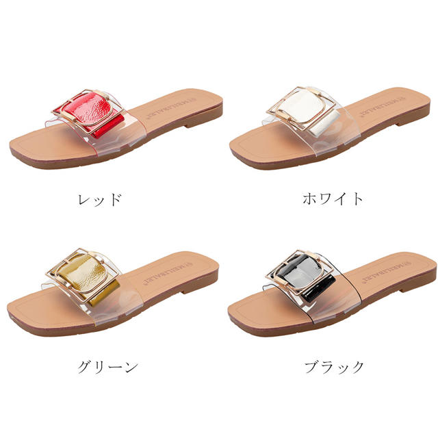 ♥ サンダル ミュール ビーチサンダル 靴 ローヒール スリッパ ぺたんこ レディースの靴/シューズ(サンダル)の商品写真