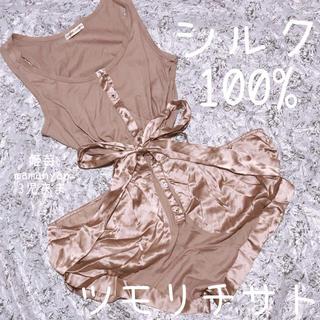 ツモリチサト(TSUMORI CHISATO)のシルク100%♡絹♡ロンパース♡オシャレ♡リアル映え♡夏♡秋♡コンビネゾン♡モテ(ミニワンピース)