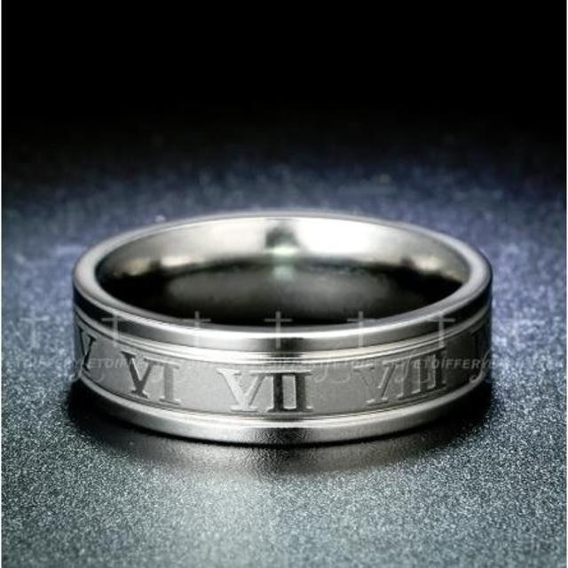ローマ数字 ステンレスリング 6mm幅平打ちリング (シルバー) レディースのアクセサリー(リング(指輪))の商品写真