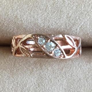 (34)3連ビジューのピンクゴールドのリング アンティーク(リング(指輪))