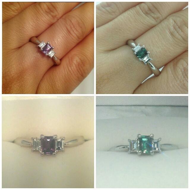希少宝石☆ アレキサンドライト ダイヤ リング pt900 レディースのアクセサリー(リング(指輪))の商品写真