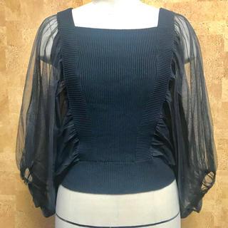 パメオポーズ(PAMEO POSE)のPAMEO POSE パメオポーズ Dolman TuIIe Knit Top(カットソー(半袖/袖なし))