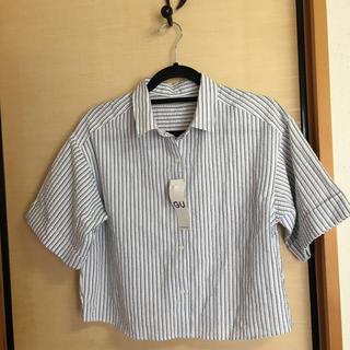 ジーユー(GU)のブラウス 半袖 ストライプ 白 グレー 定価1,490円(シャツ/ブラウス(半袖/袖なし))