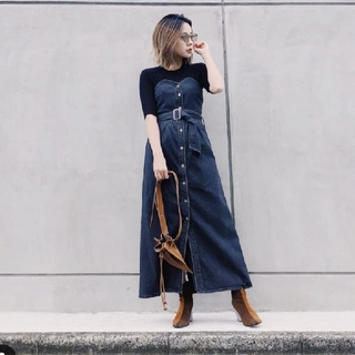 アメリヴィンテージ(Ameri VINTAGE)のAmeri DENIM UNIFY DRESS(ロングワンピース/マキシワンピース)