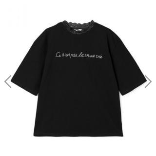 グレイル(GRL)のレースネックロゴTシャツ  ブラック(Tシャツ/カットソー(半袖/袖なし))