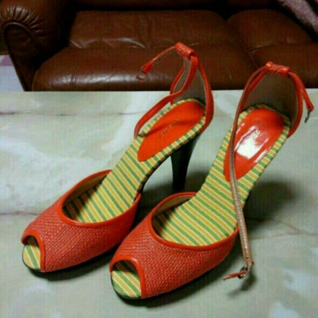 サンダル オレンジ 24.5 レディースの靴/シューズ(サンダル)の商品写真