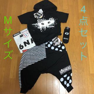 シマムラ(しまむら)の新品 96猫 サルエルパンツ&パーカー&Tシャツ&靴下 4点セット M しまむら(ミュージシャン)