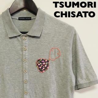 ツモリチサト(TSUMORI CHISATO)のTSUMORI CHISATO☆ワンポイントポロシャツ☆花柄☆Mサイズ☆男女兼用(ポロシャツ)