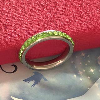 大きめサイズ ステンレス 指輪 レディース 黄緑色 1個(リング(指輪))