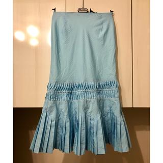 ケイタマルヤマ(KEITA MARUYAMA TOKYO PARIS)の極美品 ケイタマルヤマ 綿ボイルピンタック スカート 水色 S 0 7号(ひざ丈スカート)