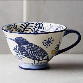 アンソロポロジー(Anthropologie)の訳あり アンソロポロジー マグカップ 鳥柄 ティーカップ コーヒーカップ 訳有a(グラス/カップ)