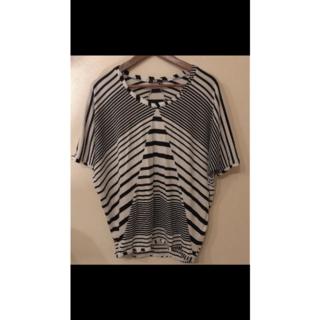 スライ(SLY)のSLY スライ 変形ボーダー ストライプ ドルマンのような半端丈トップス 美品2(Tシャツ(半袖/袖なし))