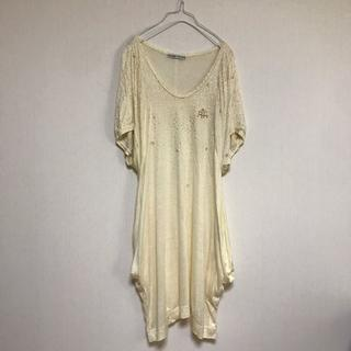 ツモリチサト(TSUMORI CHISATO)のツモリチサト Tシャツ ワンピース 変形 ドルマン ラメ ビーズ アイボリー (ミニワンピース)