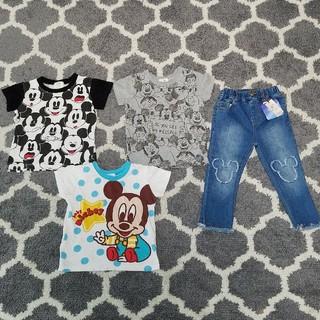 プティマイン(petit main)の新品プティマイン ミッキージーンズ Tシャツ 男の子 90 95サイズ(パンツ/スパッツ)