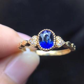 0.77ct 天然 ブルーサファイア  リング 天然ダイヤモンド付きb(リング(指輪))