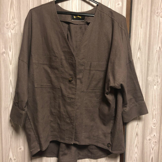ミスティック(mystic)のノーカラーリネンシャツジャケット Omekashi(ノーカラージャケット)