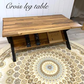 ももたろう様専用 オーダー品 クロスレッグ テーブル Aタイプ アイアン風 (ローテーブル)