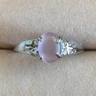 (51)ピンクのトップのファッションリング シルバー アンティーク(リング(指輪))
