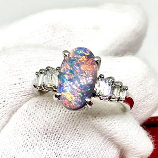 ☆希少☆  天然ブラックオパール 2.0カラット ダイヤモンドリング☆(リング(指輪))