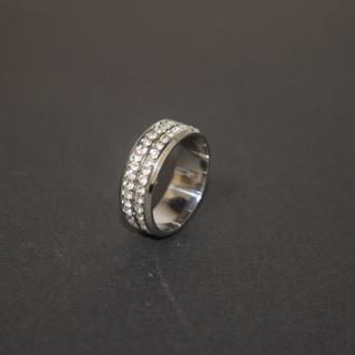 ジルコニア リング ステンレス 316L 21号 ダイヤ クリスタル シルバー(リング(指輪))