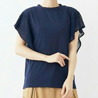 メルロー(merlot)のメルロー/merlot  袖プリーツ トップス 紺(カットソー(半袖/袖なし))