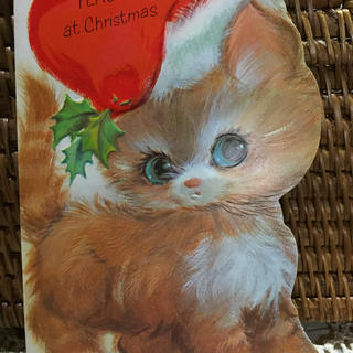 C9ヴィンテージUSA未使用グリーティングクリスマスカード赤い帽子子猫ちゃん(印刷物)