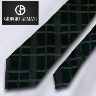 ジョルジオアルマーニ(Giorgio Armani)の【美品】 GIORGIO ARMANI イタリア製 チェック 深緑(ネクタイ)
