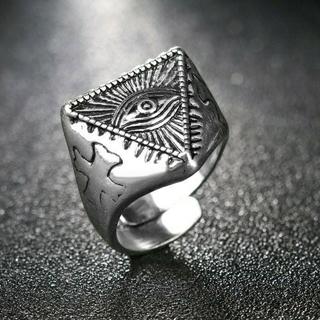 ♣フリーメイソン❗プロビデンスの目 テンプル騎士団(クロス) フリーサイズリング(リング(指輪))