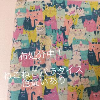 新品キャンバス地 ねこ猫ネコ パステル 110cm幅 1.1m(生地/糸)