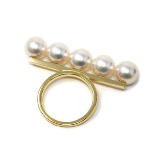 タサキ(TASAKI)のタサキ バランス シグネチャーリング 750YG/あこや真珠 実寸約14号(リング(指輪))