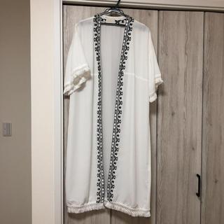 ディスコート(Discoat)のディスコート  フリンジ付き ロングカーディガン 羽織り(カーディガン)