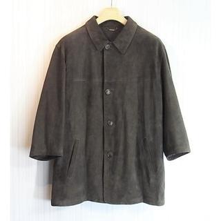 サルヴァトーレフェラガモ(Salvatore Ferragamo)のsize52 フェラガモ 七分袖 カシミア裏地付きレザーコート ダークブラウン(レザージャケット)