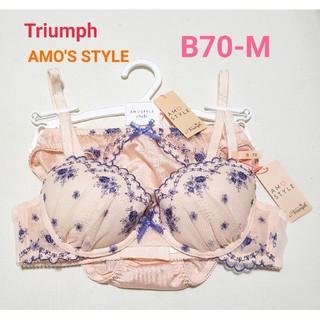 アモスタイル(AMO'S STYLE)のトリンプ AMO'S STYLE ピンク花柄レース ブラショーSET B70-M(ブラ&ショーツセット)