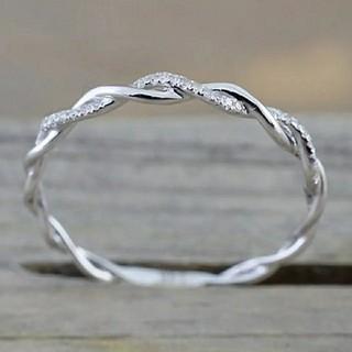 20号*ジルコニアライン*ねじりツイストリング指輪*Silver925*シルバー(リング(指輪))
