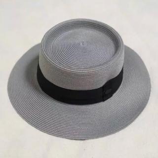 マウジー(moussy)の新品未使用 moussy グレー 麦わら帽子 ストローハット(麦わら帽子/ストローハット)